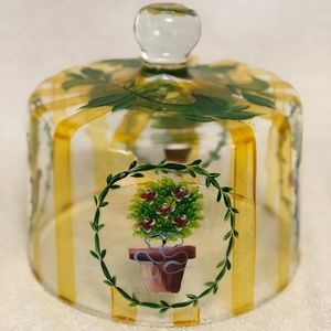 """Hand painted glass dome 8"""" round"""